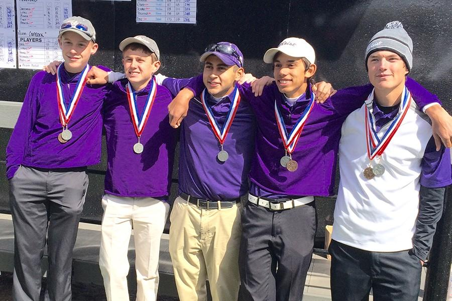 The boys golf team of Greg Garrison, Michael Kennedy, Christian Bazaldua, Andrew Brewer and Max Mitchell won second place at the district tournament