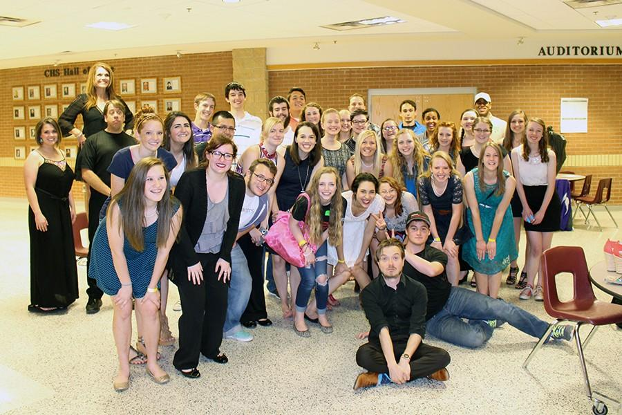 Students of the ASL program take a picture with Wink Smith and Keith Wann after the comedy show.