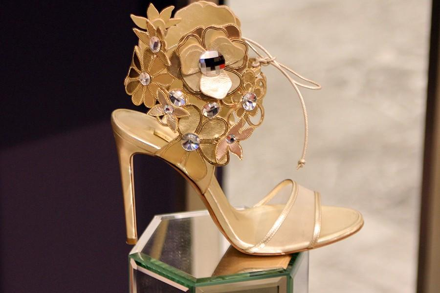 A $2,000 shoe on display at Saks 5th Avenue in New York City.