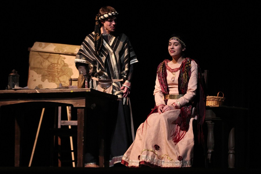 Sophomore Maverick Evans and senior Paige Stockton perform lead roles of the one-act play,