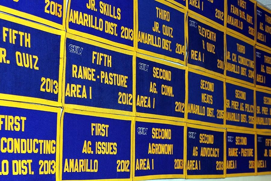 FFA awards received by students line the walls of the agriculture building on campus.