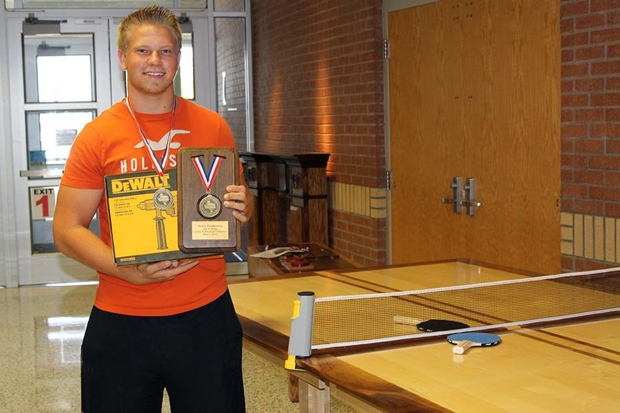 Senior Austin Slayton with his award winning ping pong table.
