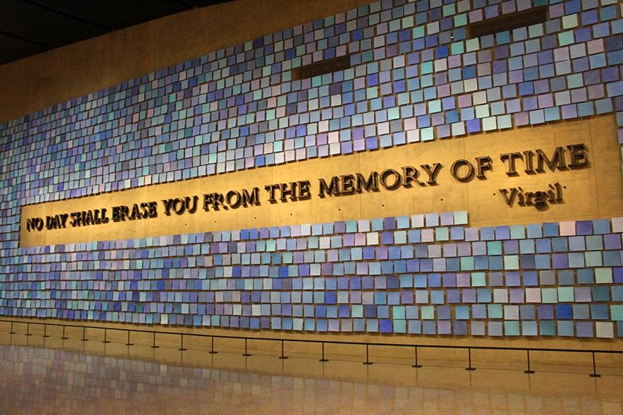 Spencer Finch's tribute in the museum represents the colors of the sky Sept. 11.