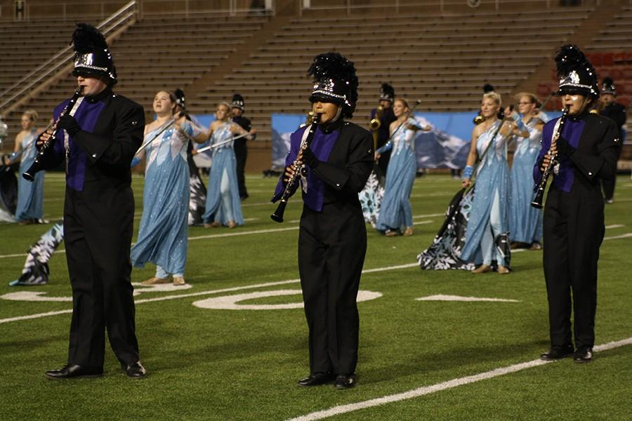 The clarinet section plays in the Oct. 2 varsity football game against Lawton-Eisenhower.