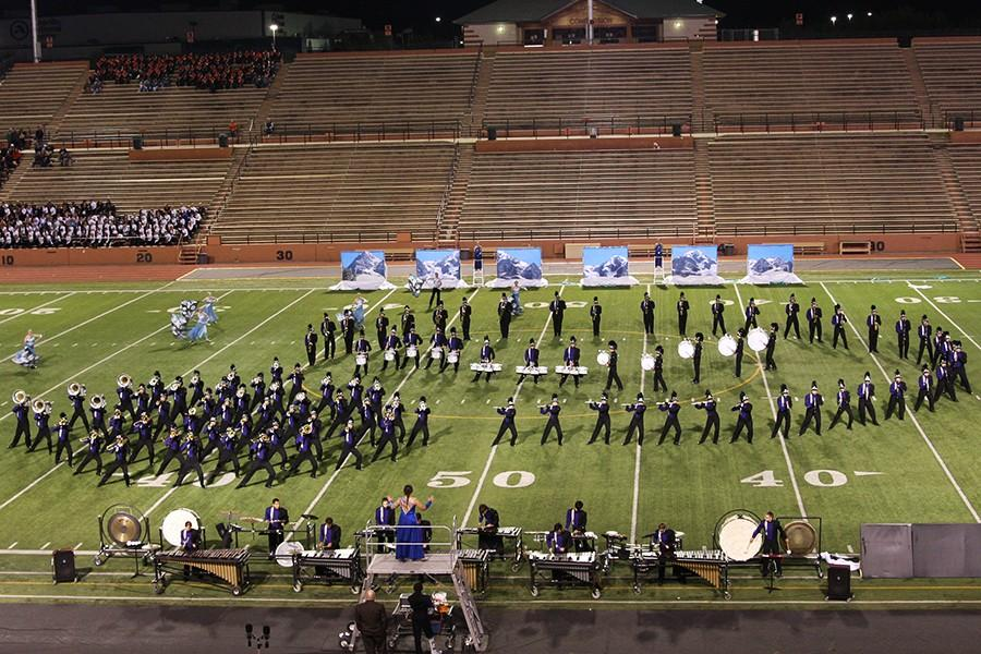 The band performs at the UIL Regional Contest in Dick Bivens Stadium.