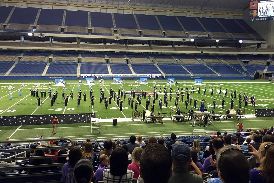 The Soaring Pride Band competes Tuesday, Nov. 3 in the Alamodome in San Antonio during the preliminary round of the State UIL Marching Contest.