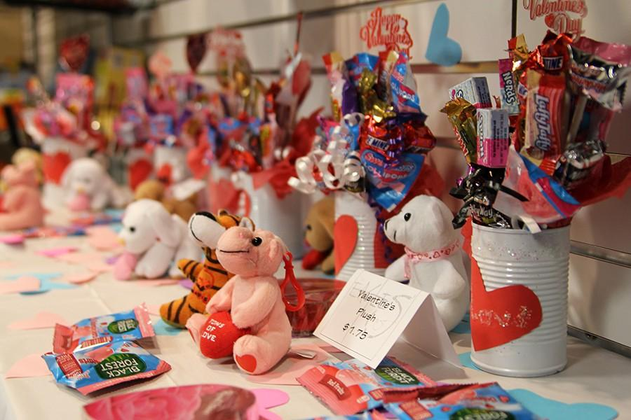 The school store received new merchandise for Valentine's Day, including candy bouquets made by the floral design classes and plush stuffed animals.