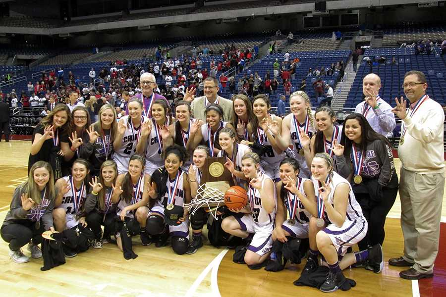 The Lady Eagles varsity basketball team won the State Championship for the third year in a row.