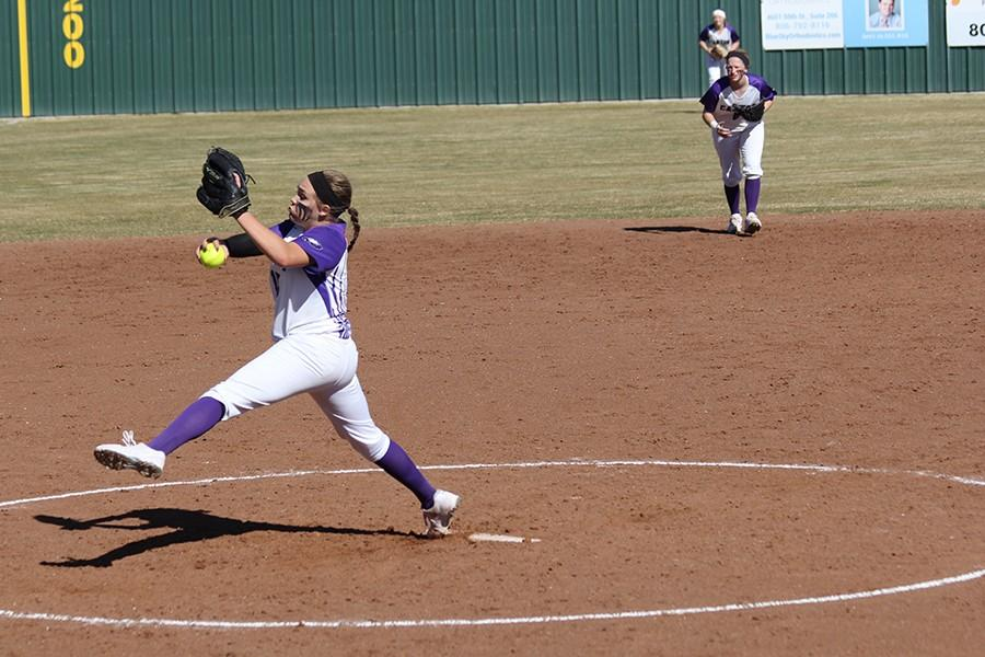 Sophomore pitcher Kyra Lair delivers a pitch against Caprock.