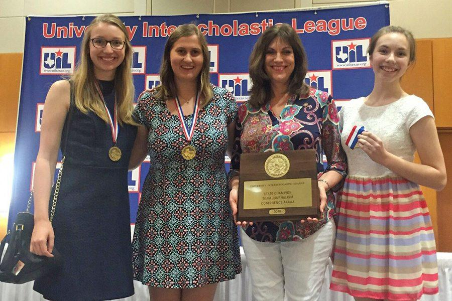 Senior Erin Westermann, junior Callie Boren, journalism teacher Laura Smith and freshman Erin Sheffield celebrate their state championship after the awards ceremony at the State UIL Academic Meet in Austin May 24.