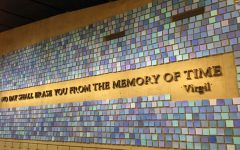 A wall in the 9/11 museum depicts a mural of shades of blue, representing the sky Sept. 11, 2001.