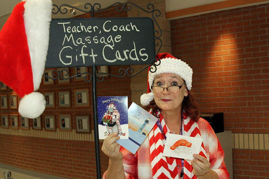 PTSA president Sandy Allison  will take payment for teacher gift cards for massages during activity period and lunch until Dec. 15.