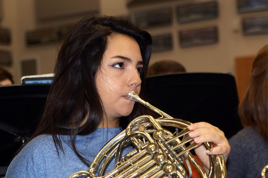 Junior Ericka Ortiz, who earned eighth chair in the concert band, plays the horn.