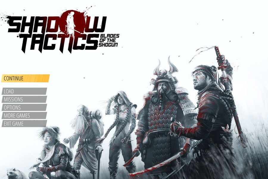 Screenshot of the main menu players will encounter when they first open Shadow Tactics.