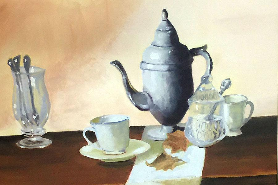 This award-winning still life oil painting by sophomore Morgan Melton will advance to the state VASE competition.