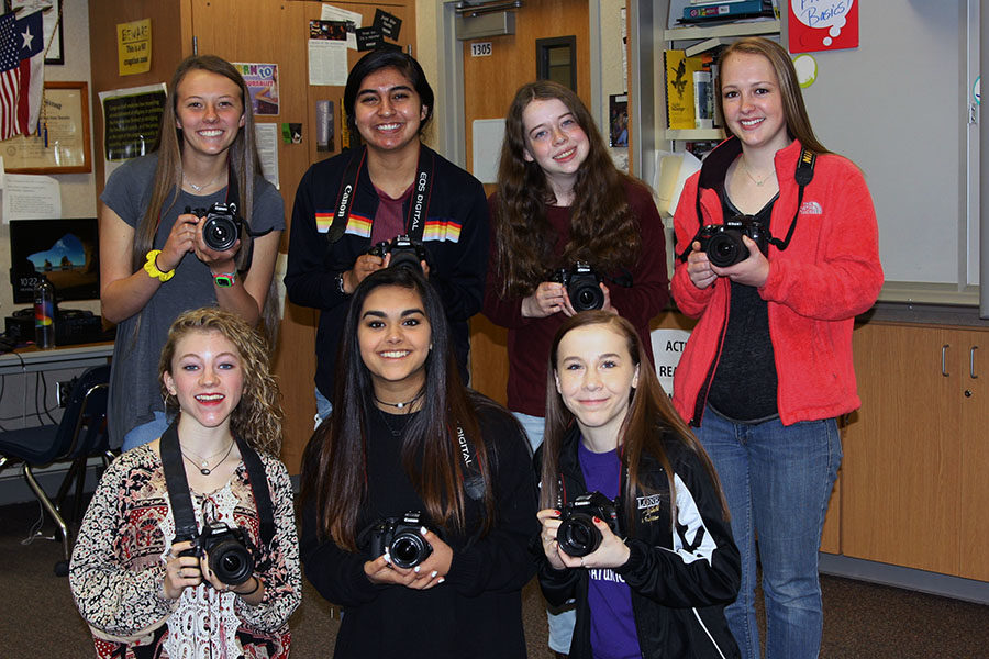 Yearbook staff photographers and writers who contributed to the site and share the award include (front) McKinlea Kear, Kylee Khan, Jillian Howell; (back) Madison Jones, Sara Ledesma, Victoria Bell and Sarah Nease.
