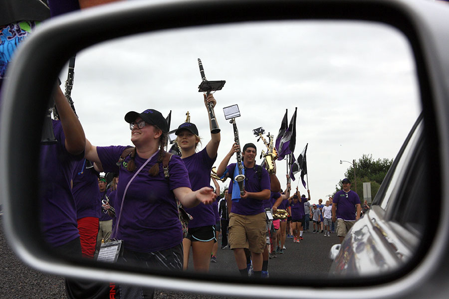The band marches the streets of Canyon during the 2016 March-a-Thon.
