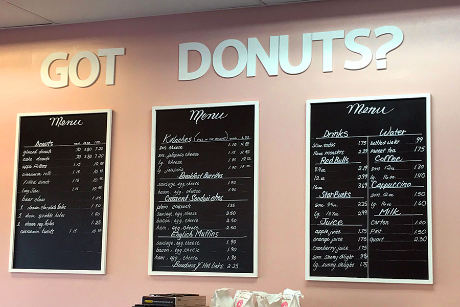 """""""Got Donuts?"""" left an excellent first impression on our staff. With the pastel and stylishly put together interior, the establishment felt very clean and welcoming. The bathrooms were clean and although they were small, they were more than adequate. While space for parking and seating was limited, it did not feel at all crowded, but more homey."""
