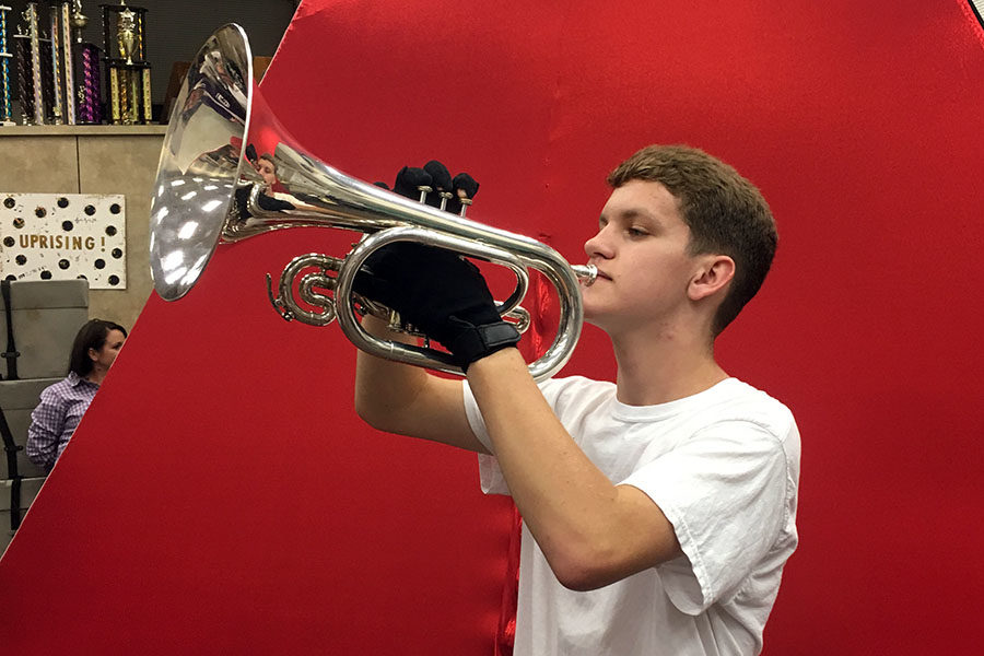 Sophomore Aaron Neeley plays horn in the marching band.