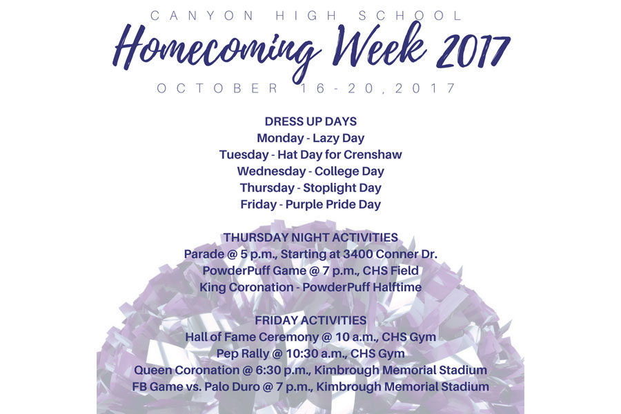 Students and the community are invited to participate in homecoming festivities throughout the week.