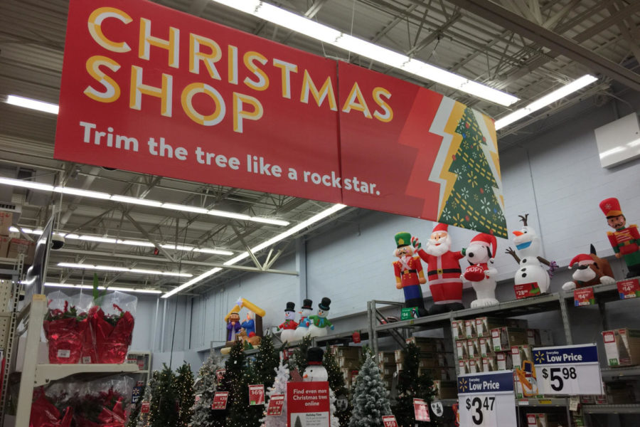 Walmart department store displays Christmas decorations.