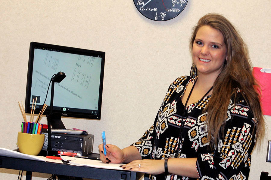 Jessica Mitchell teaches Pre-Calculus in her classroom on the 2100 hall.