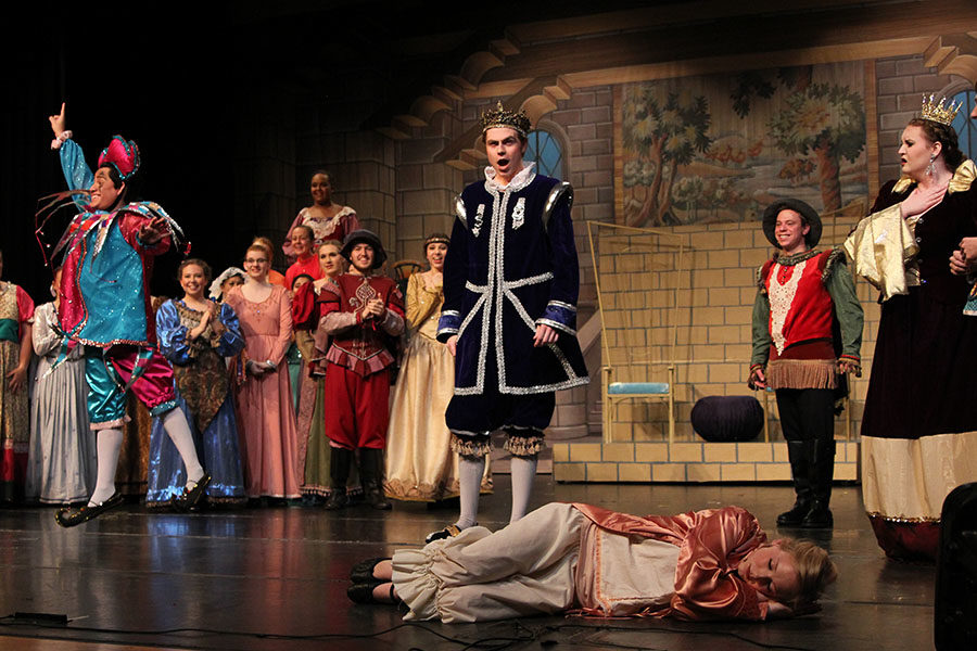 King Sextimus The Silent, played by senior Jaren Tankersley, regains his voice after a curse is broken.