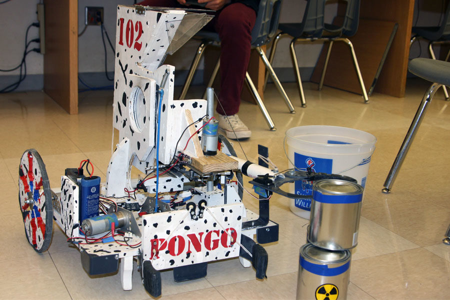 The robotics team chose the team name 102 Dalmations, and named their robot Pongo, after their team number, 102.