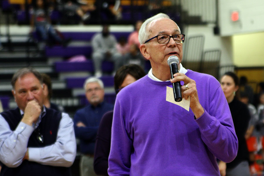 Coach Joe Lombard addresses the crowd at the Jan. 9 ceremony naming the Canyon High School gym the Joe Lombard Gymnasium.