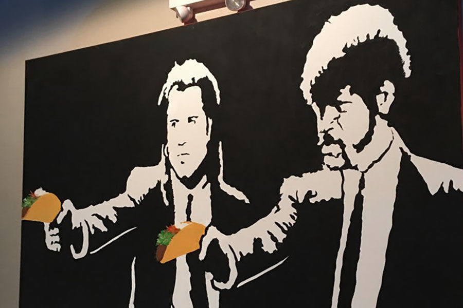 A+painting+inspired+by+Quentin+Tarantino%27s+cult+classic%2C+%22Pulp+Fiction%22+hangs+in+Joe+Taco