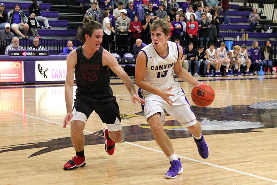 Senior Parker Howe takes the ball down the court in a pre-season tournament game against Tascosa High School.