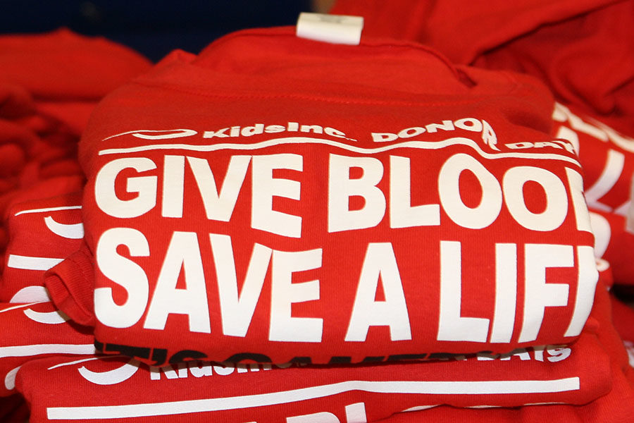 Students can give blood in the spring blood drive even if they do not have a scheduled appointment. Donors receive a t-shirt.