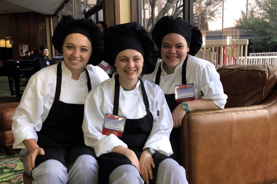 Seniors Kazlyn Roberts, McKayla Johnston and junior Katelyn Penn in Dallas during the FCCLA state competition.