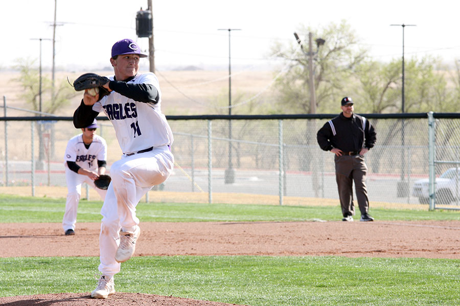 Senior Kaden Gist pitches during a game against Palo Duro earlier in the season.