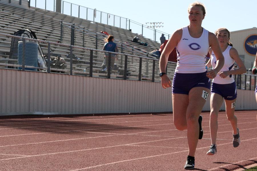 Regional qualifiers Ayse Allison and Gabi Davis run at the Frenship meet.