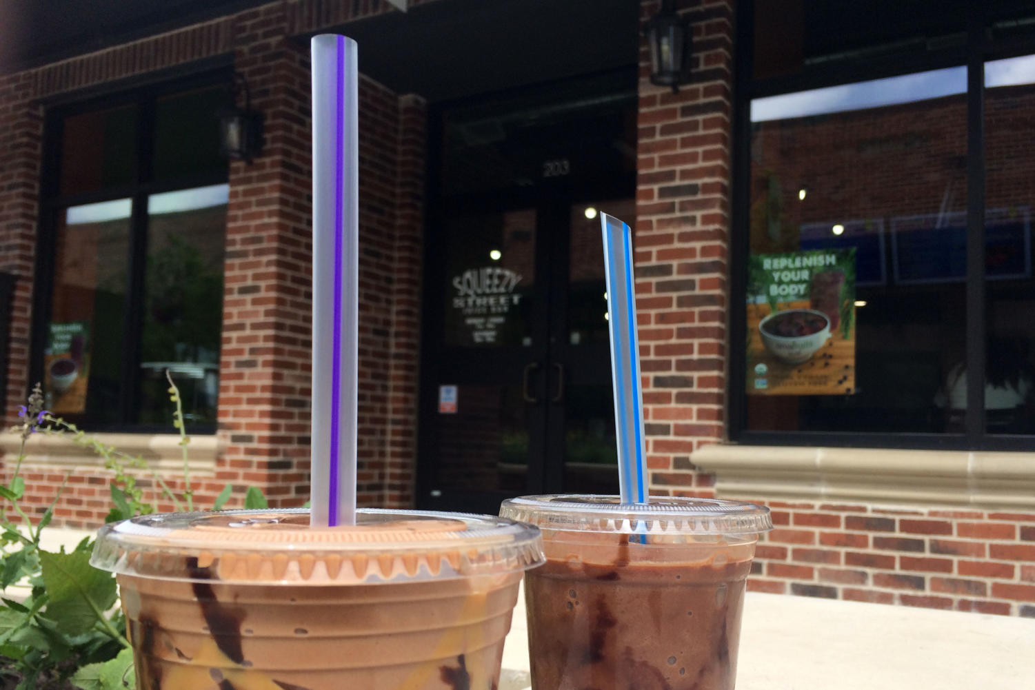 The Peanut Butter Cup and the Chocolate smoothies from Squeezy Street come at a high price, but are a delicious summer treat.
