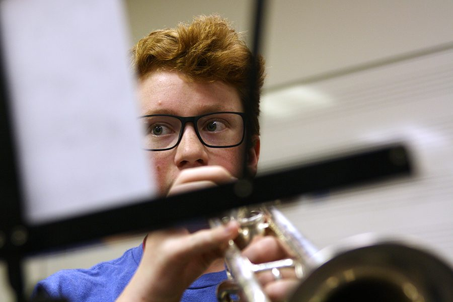 Sophomore Ryan Cox plays trumpet during a sectional at the WTAMU Band Camp.