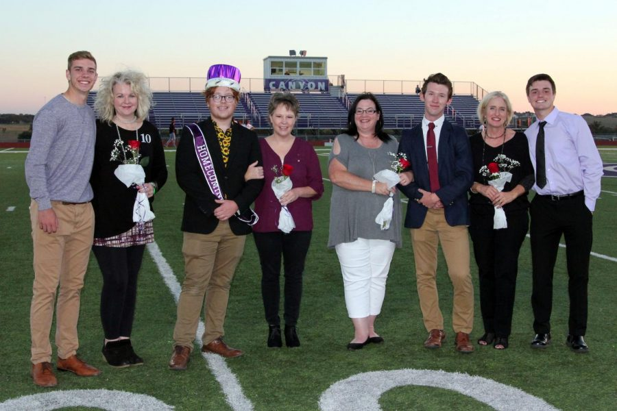 Homecoming king nominees were accompanied by their mothers. Lawton Rikel, Joni Rikel, Seth Nease, Rachel Nease, Isaac Kizziar, Sherri Kizziar, Brett Cobb, and Margie Cobb celebrate together after the ceremony.