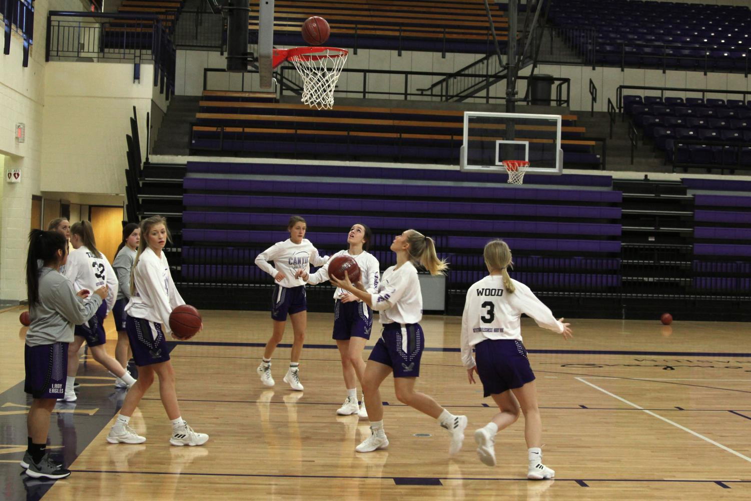 The Lady Eagles practice Tuesday morning for the game against Idalou at 6:30 p.m.