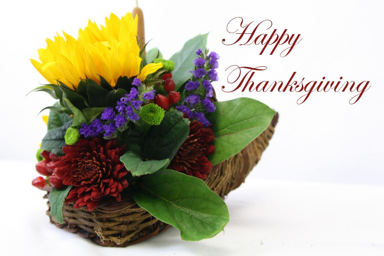 Floral design students created cornucopia arrangements for Thanksgiving.
