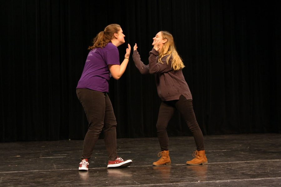 Sophomores Emma Wilcox and Lauren Taylor audition for the student winter showcase to be presented Dec. 15 at 6 p.m.