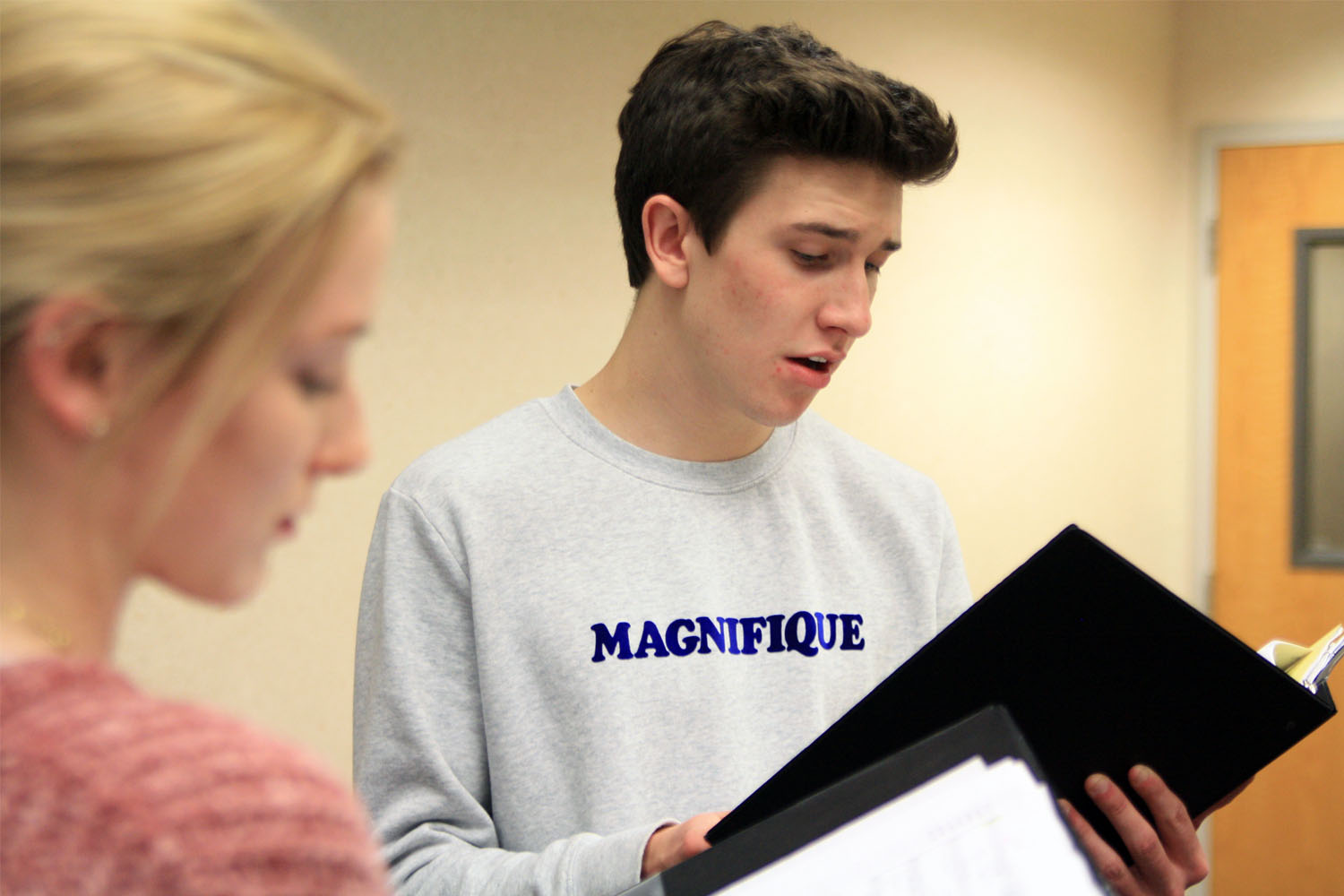 Seniors Katelyn Spivey and Levi Wilkins, who placed first chair soprano 2 and second chair tenor 2 in the large school division, practice Mozart's