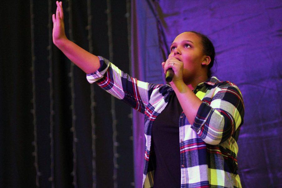 Senior Kaleigh Rodarte-Suto sings