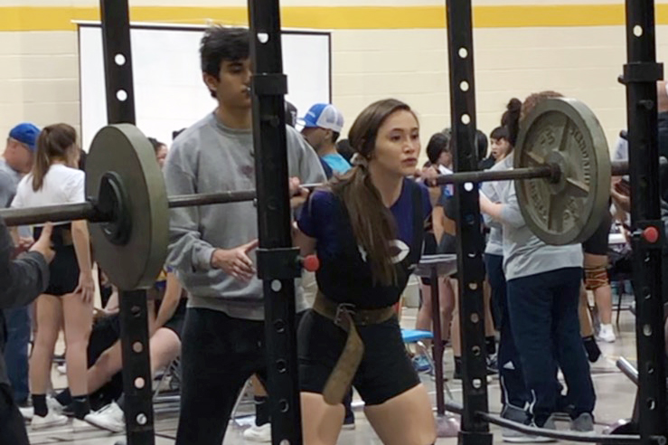 Senior Brie Mowry is one of only two female powerlifting members.