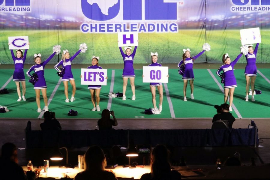 The+cheerleaders+perform+for+the+judges+in+the+UIL+spirit+state+meet.