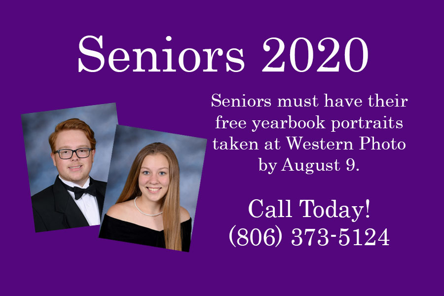 Seniors must take yearbook portraits during the summer to ensure publication in the yearbook.