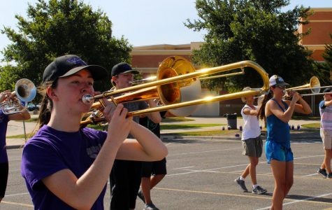 Sophomore Zoe Kizziar practices during summer band earlier this month.