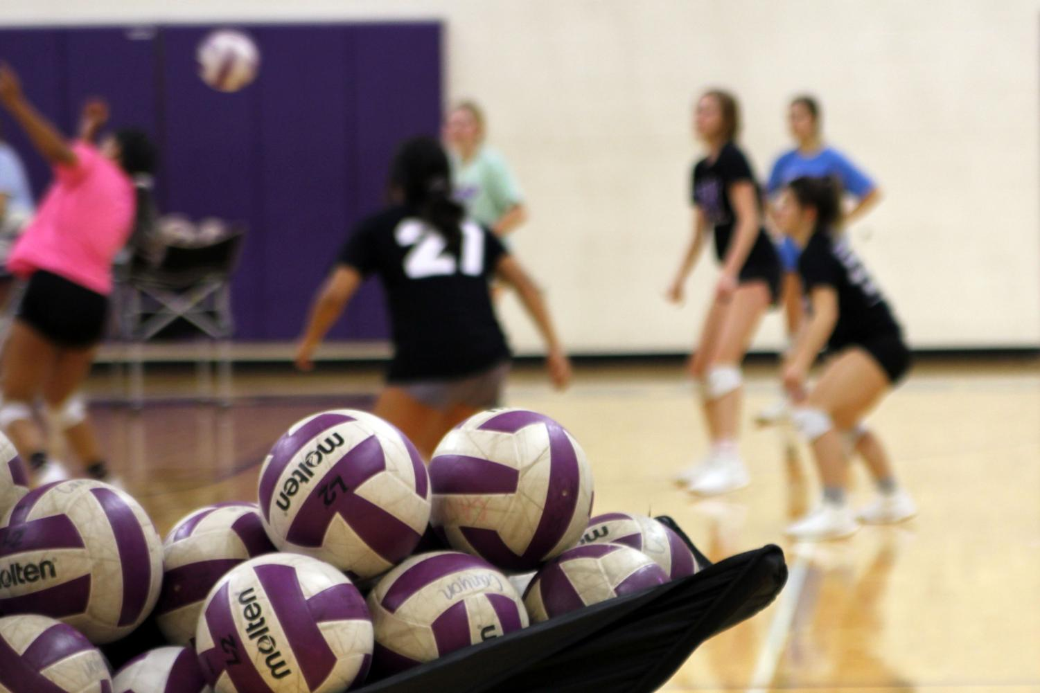 The volleyball team practices first period in preparation for their game against Amarillo High.