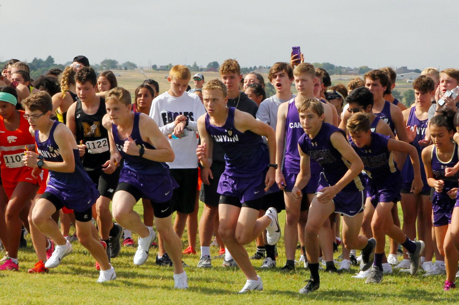 Runners start the course of the 6-mile relay Aug. 24 at Canyon High. Both cross country teams will compete in the Canyon Invitational Saturday, Oct. 5.