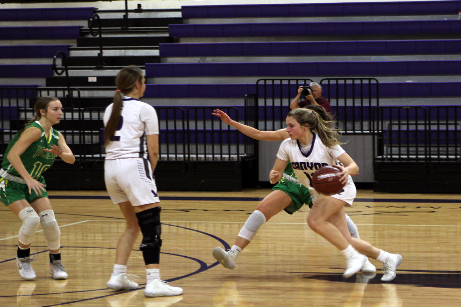 In the game versus Idalou junior Kyla Cobb pushes up the court.